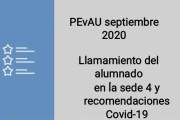 Llamamiento del alumnado del IES Severo Ochoa para los exámenes de la PEvAU septiembre 2020, en la sede 4 (ETS Ingeniería de la Edificación)