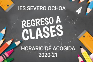 Horario de acogida del alumnado. Inicio del curso 2020-2021