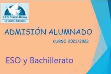 Admisión del alumnado: curso 2021-2022